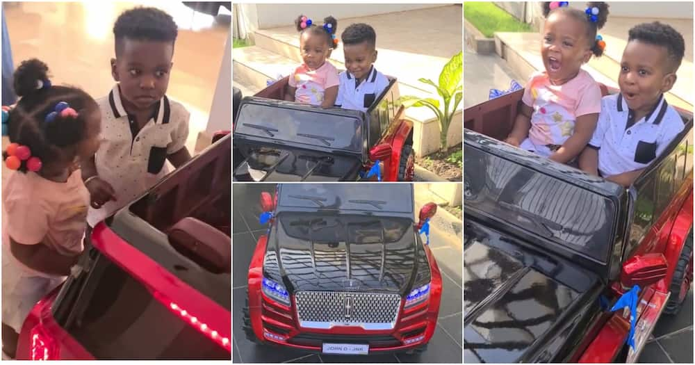 Baby Maxin: McBrown's daughter rides in a car with Dumelo's son on his birthday (video)