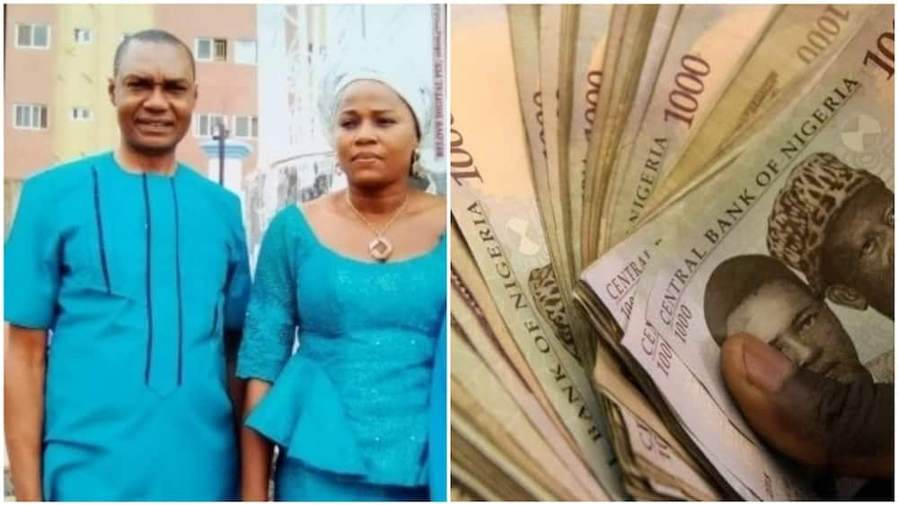 A collage of the woman and husband with illustrative naira notes. Photos source: News Express/Business Day