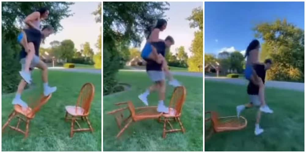 Social media users react to video of the new ultimate trust challenge done with chairs