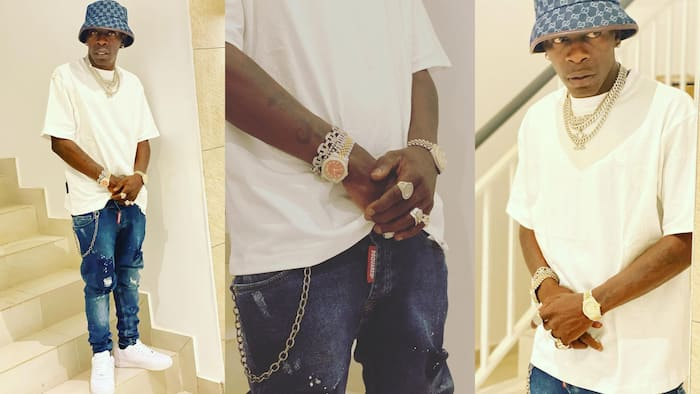 Shatta Wale removes his GHC4k jeans after fans say he bought it from Kantamanto
