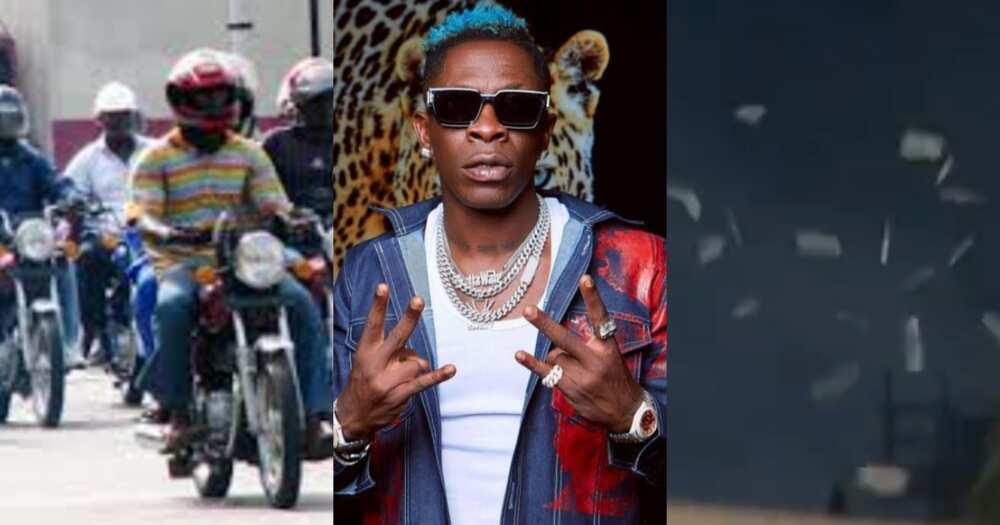 Shatta Wale Shows Okada Riders Love as He Sprays Cash on Them In Video