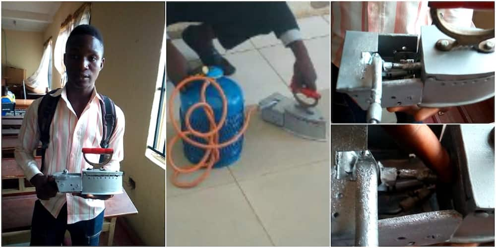 Young Nigerian boy invents pressing iron that uses gas