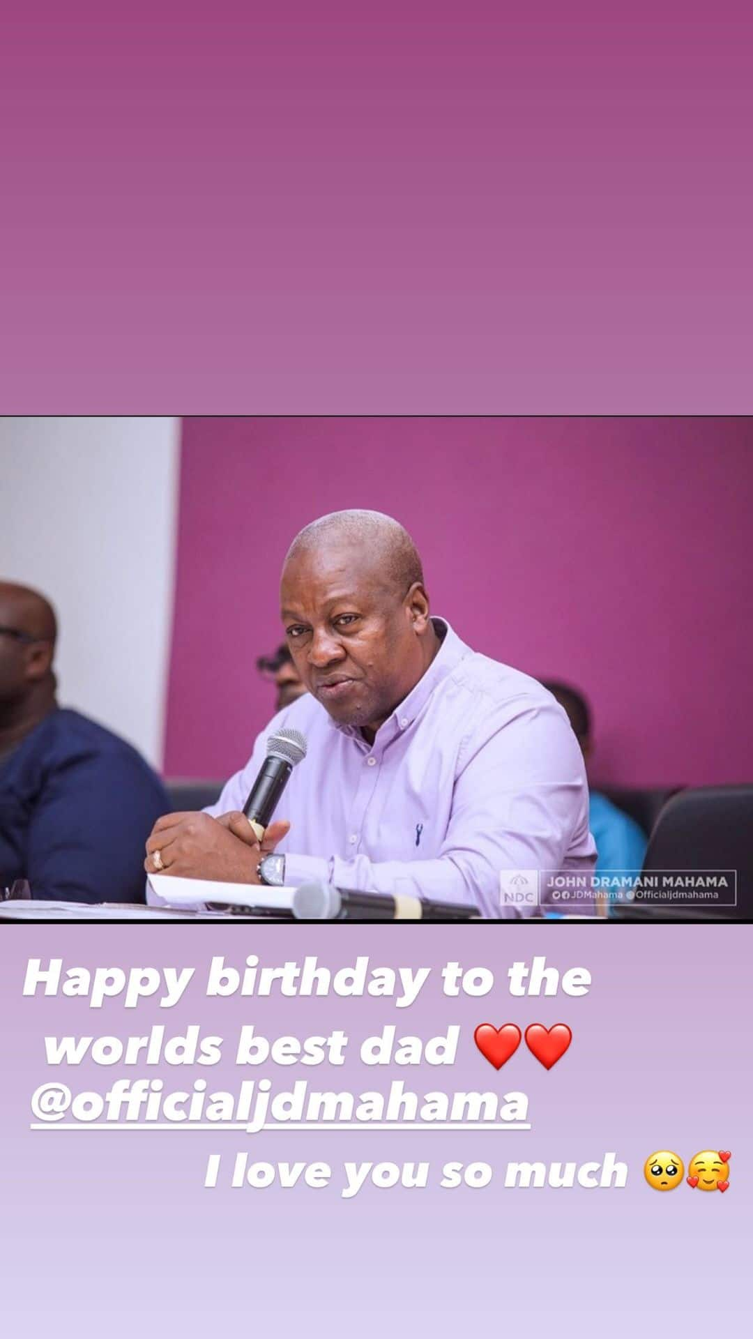 Mahama's 13-year-old daughter celebrates father's 62nd birthday with 4 lovely photos