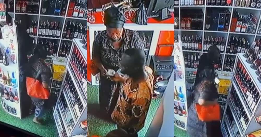 CCTV captures mother and son stealing from a wine shop at Tema (Video)