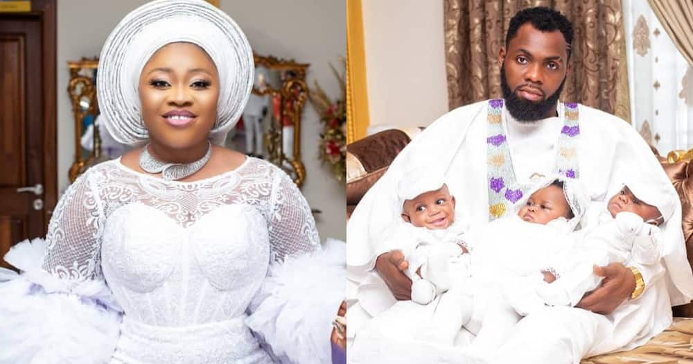 Rev Obofour finally shows the faces of his triplets after their naming ceremony; photo drops