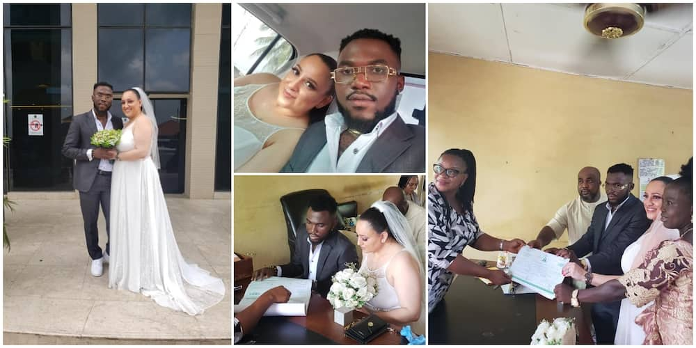 Photos as Nigerian Man Gets Married to Beautiful Oyinbo Lady in Style, Many Say is Younger