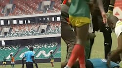 Ghanaian referee collapses on the pitch while officiating Afcon 2021 qualifier; Sad photo drops