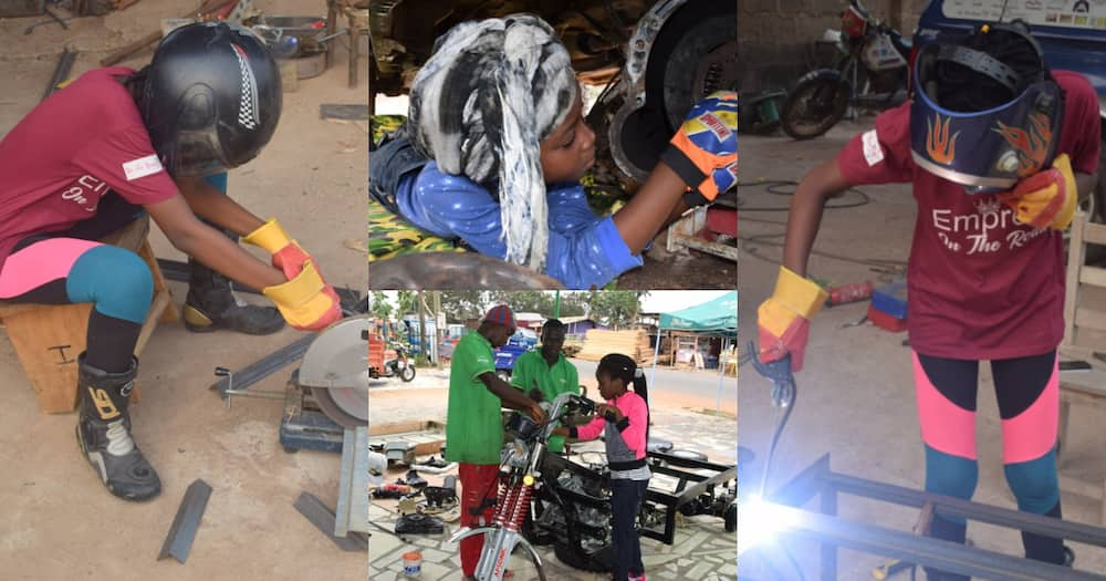 Ghanaian father proudly shares photos of daughter building soap producing machine from scratch