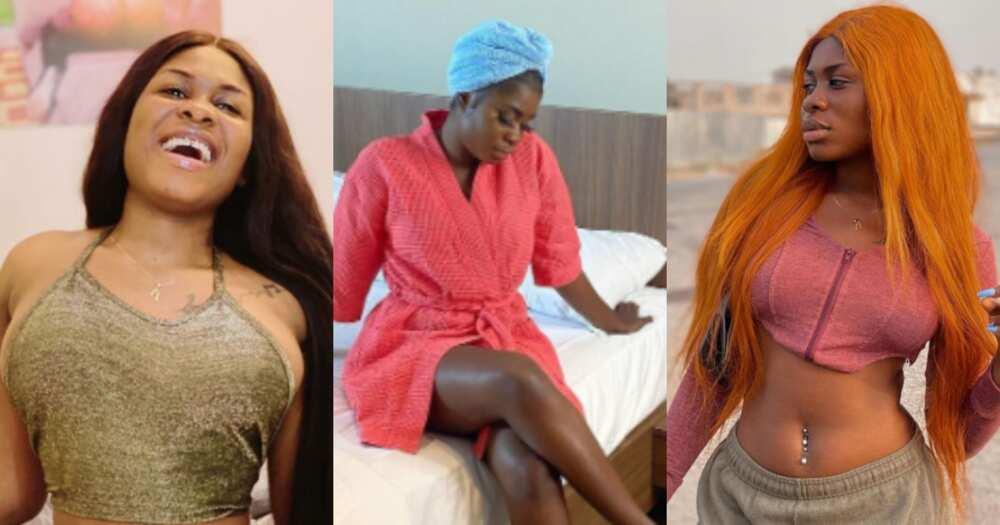 Yaa Jackson drops hot bedroom photo as she flaunts her fine legs, fans go gaga