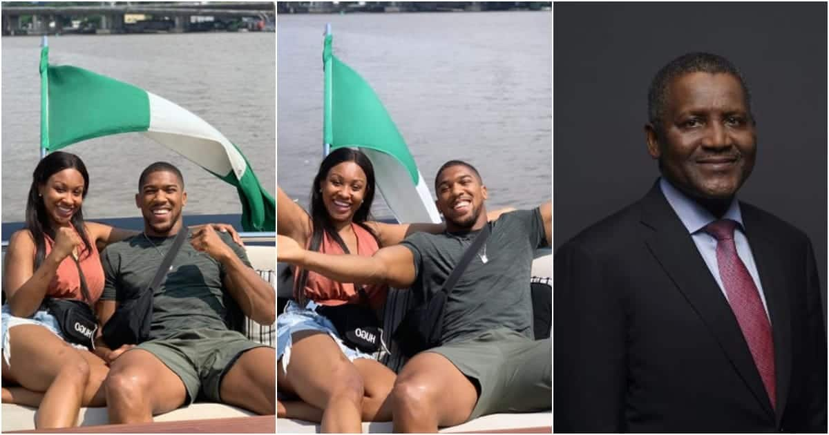 Billionaire Dangote hosts Anthony Joshua and his sister on GHC 231m luxury yacht (photos)