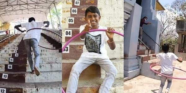 Young boy sets Guinness World Record after climbing 50 stairs while doing hula hooping in less than 20 seconds