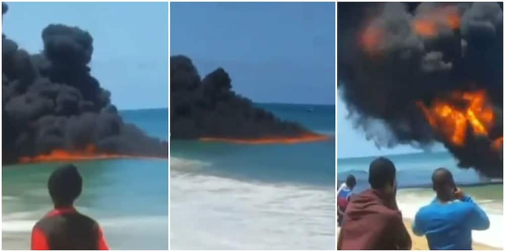 Strange Fire Breaks out on Popular Beach in Lagos, Video Sparks Mixed Reactions