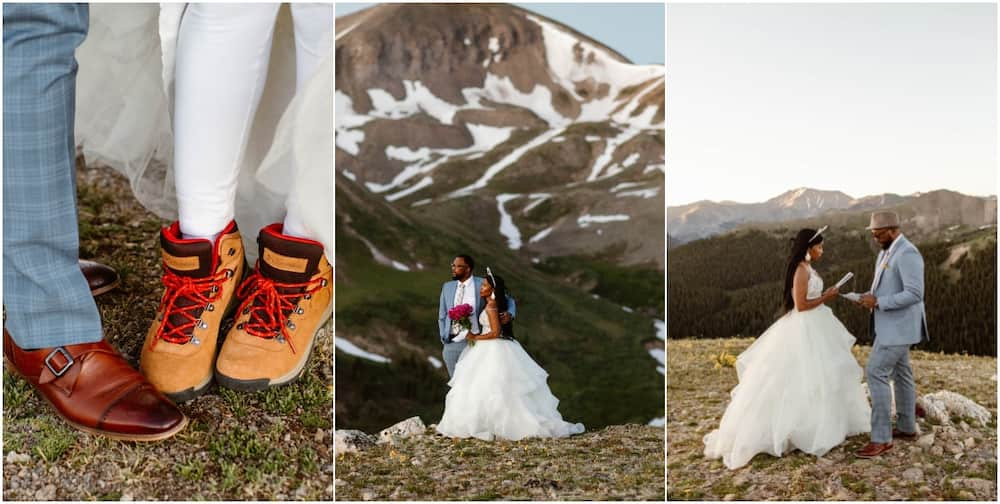 Adventurous couple wed themselves atop 12 ft-high mountain without a Pastor (Photos)