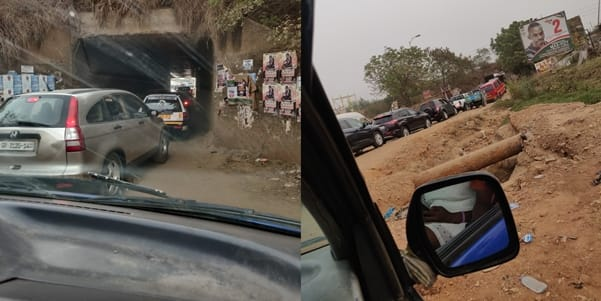 Photos of a one-lane underbridge in Accra angers Ghanaians; hot reactions pop up