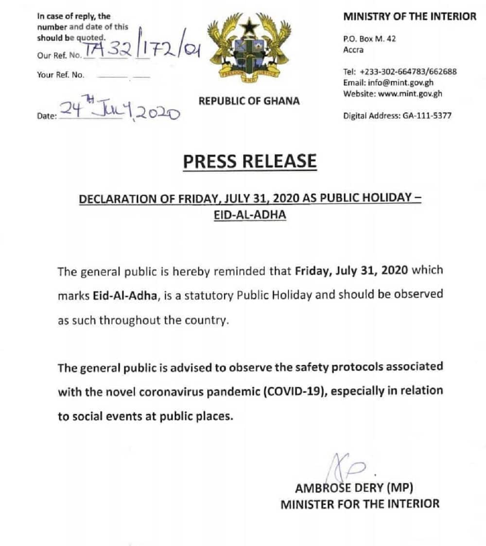 Friday, July 31, 2020 declared holiday by Minister for the Interior