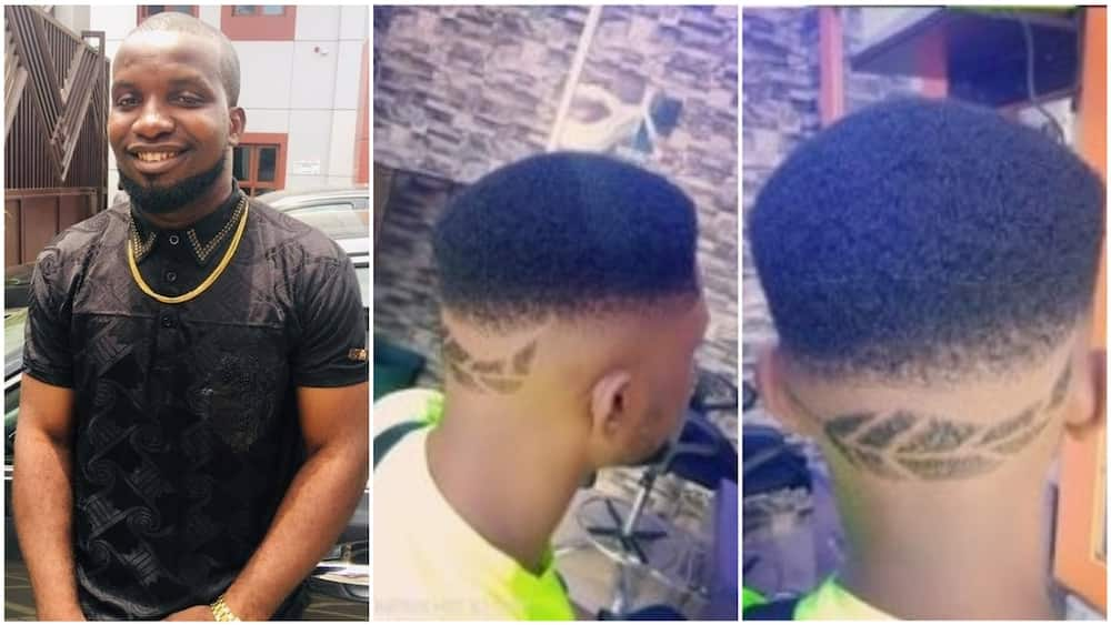 A collage showing the Nigerian barber and his model. Photo source: Facebook/Onu Okwuchukwu Charles