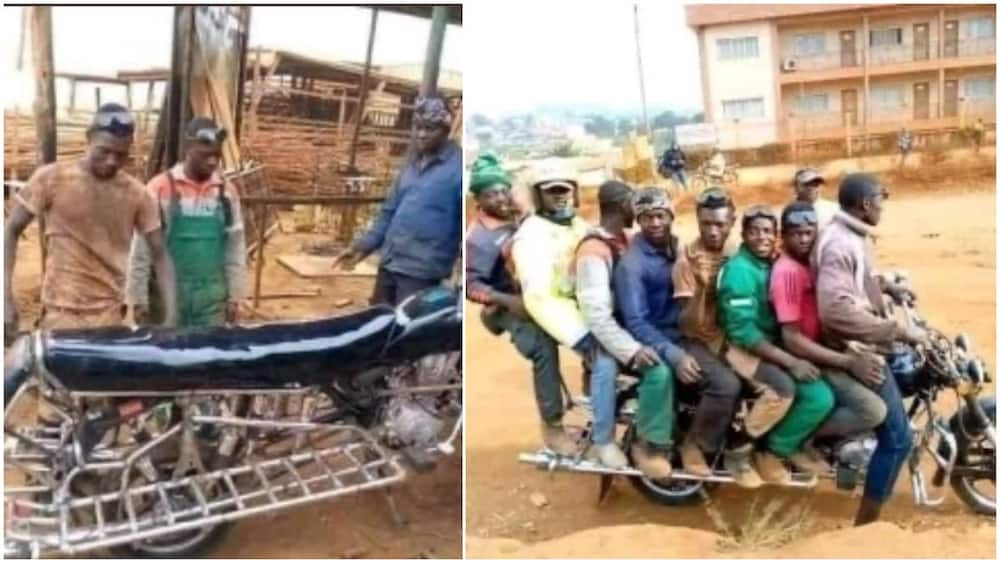 Photos of Okada with Long Seat that Can Carry 8 People all at once Break the internet