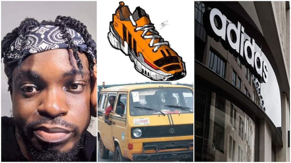 Luck smiles on Nigerian man who drew shoe and painted it in danfo colour, Adidas wants to meet him