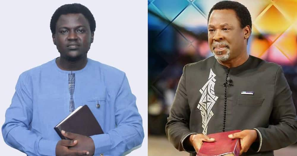 Cameroonian cleric Paul (l) and TB Joshua.
