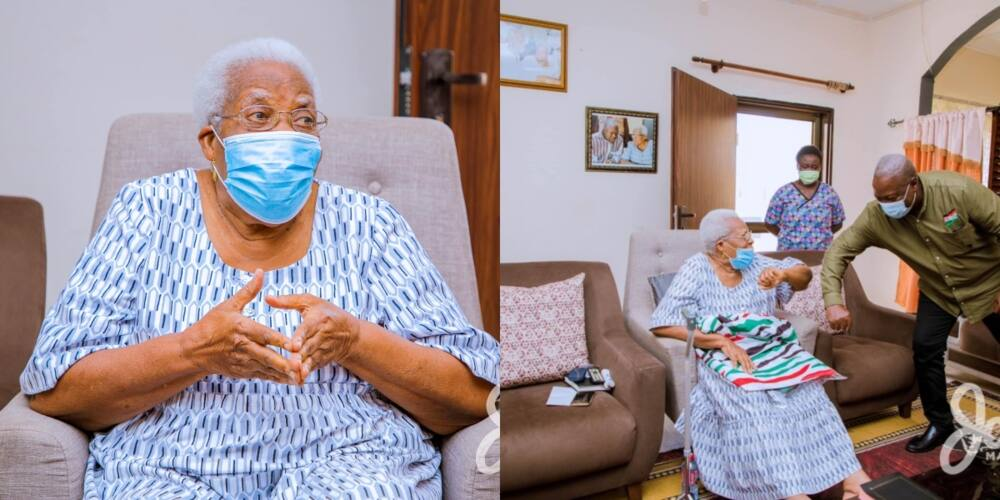 Photos drop as Mahama pays mother of late Amissah-Arthur a visits during tour of Central Region