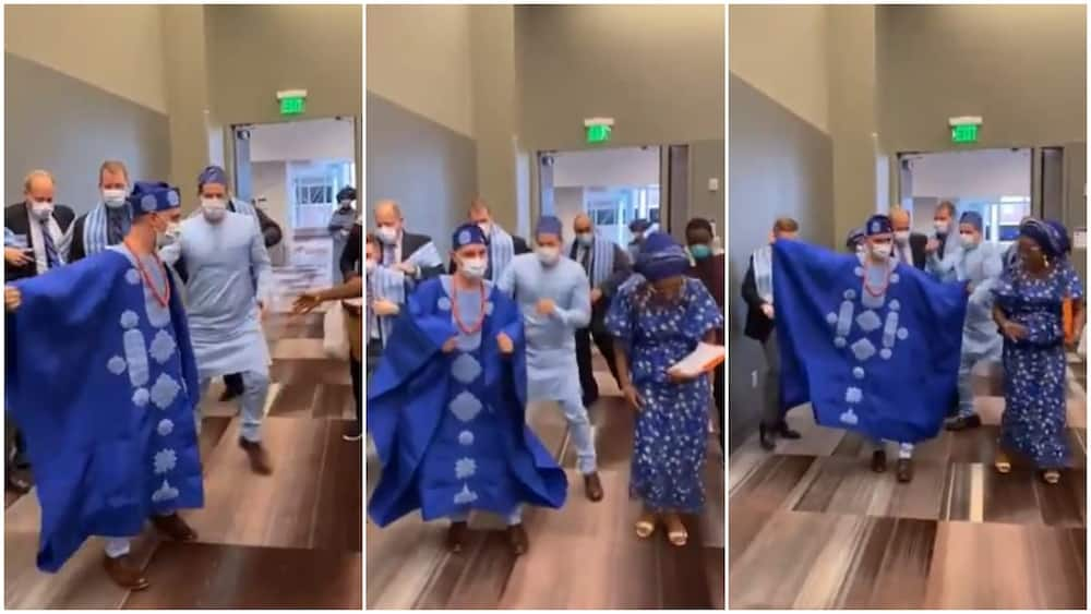 White man and his groomsmen dance to Yoruba song as man gets to 'marry' Nigerian, video goes viral