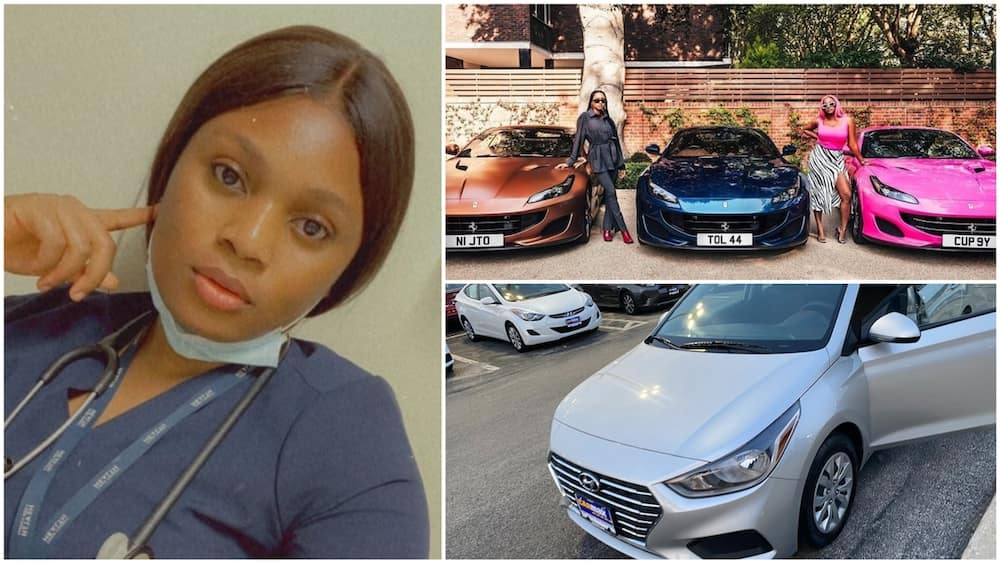A collage of the lady, her car and Otedola's daughters with their Ferraris. Photos sources: Twitter/Jennifer/Instagram/DJ Cuppy