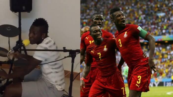 Throwback video of Asamoah Gyan showing his drumming skills pops up