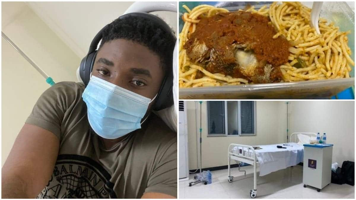 Nigerian patient poses at Covid-19 isolation centre, posts his food, meds