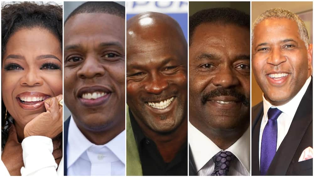 A collage of the black richest people in the US. Photos sources: Biography/Wikipedia