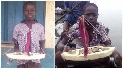 12-year-old boy manufactures run boat in Nigeria