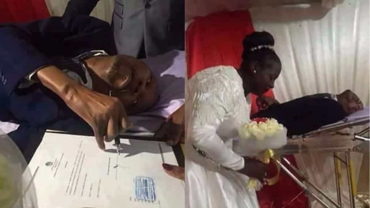Disabled man marries his heartthrob on hospital bed