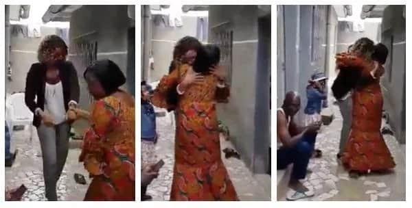 Touching! Lady returns home after 14 years in Italy, surprising her mother (video)