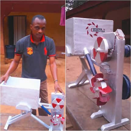 Nigerian man constructs a machine that can charge mobile phones with a bucket of water (photos)