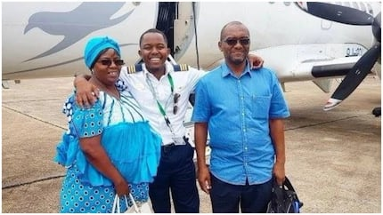 23-year-old Zambian pilot achieves his goal, flies his mom and dad for the first time