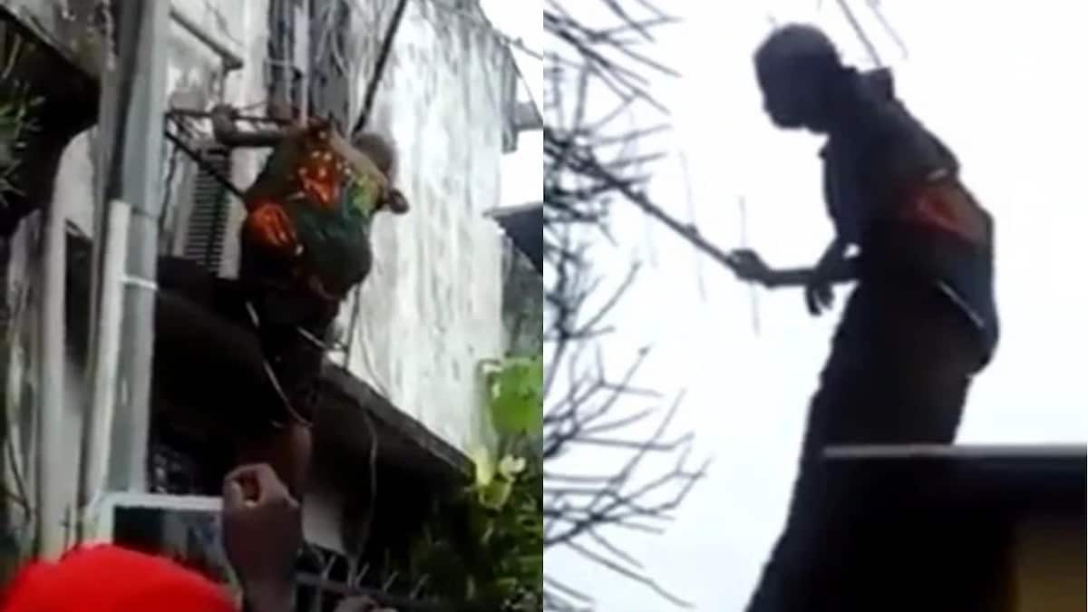 Grandma tagged 'witch' after she got stuck on the roof of a building