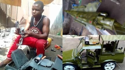 This talented Nigerian boy constructs toy cars, helicopters, planes (photos)